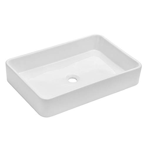 Kichae 24 x16 Modern Bathroom Rectangle Above White Porcelain Ceramic Vessel Vanity Sink Art Basin