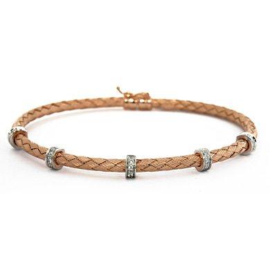 "Tresse Rose 18 carats-Diamant 0,15 carat-Bracelet Tressé-JewelryWeb 7 """