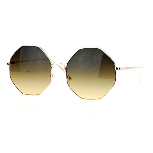 Octagon Shape Metal Frame Sunglasses Womens New Eyewear UV400 Gold, Brown - Frame Octagon