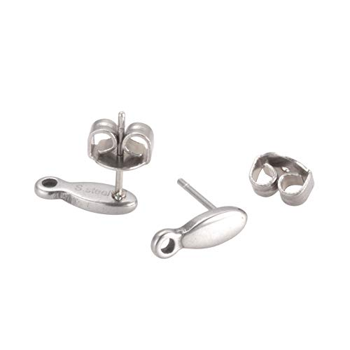 PH PandaHall 100 Pieces 304 Stainless Steel Ear Studs, Flat Oval Blank Tray Earring Post for Earring Finding, Platinum