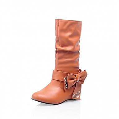 Bowknot EU42 Boots amp;Amp; Shoes Fashion Boots Wedge Women'S Wedding Winter 5 For 5 Toe US10 UK8 Round Office Heel Mid Boots Calf Leatherette CN43 RTRY Career Red Spring HwZYwx