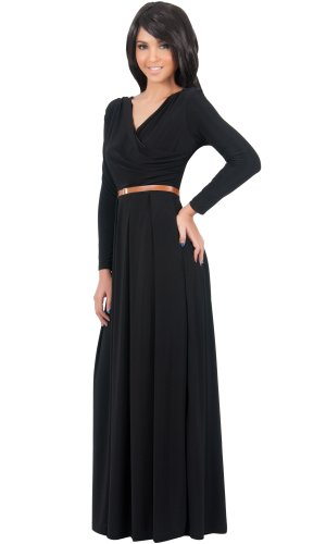 KOH-KOH-Womens-Long-V-Neck-Full-Sleeve-Semi-Formal-Flowy-Evening-Cute-Maxi-Dress