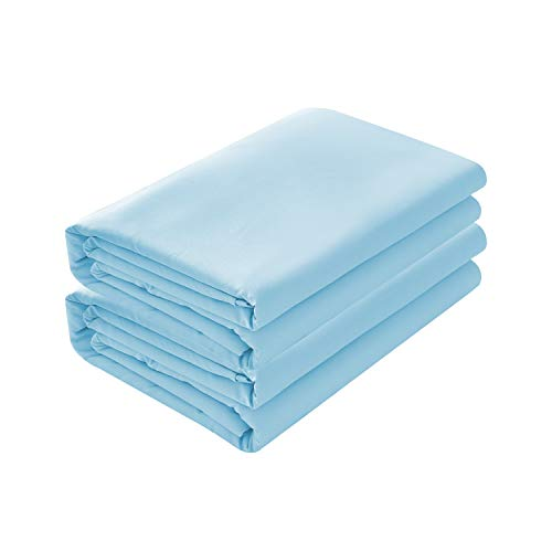 BASIC CHOICE 2-Pack Flat Sheets, Breathable 2000 Series Bed Top Sheet, Wrinkle, Fade Resistant - Full, Light Blue 2 Pack Flat Sheets