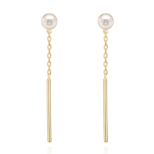 PAVOI 14k Yellow Gold Plated Shell Pearl Earrings Drop Earrings 14k Yellow Gold Pearl Drop