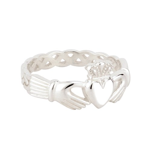 Claddagh Ring Womens Woven Band Sterling Silver Irish Made Size 6.5