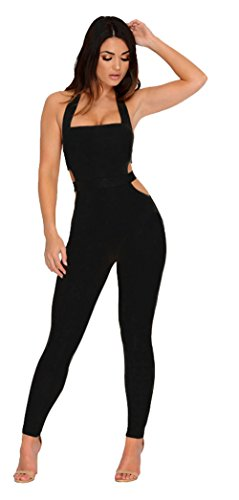 Longwu Womens Sleeveless Bodysuit Halter Backless Elastic Tight Fitting Sexy Jumpsuit (Organic L/s Bodysuit)
