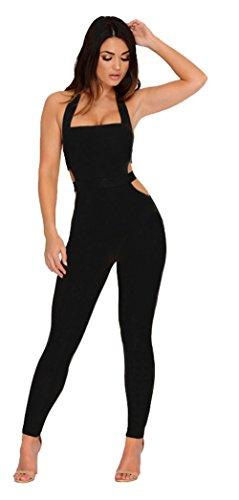 Longwu Womens Sleeveless Bodysuit Halter Backless Elastic Tight Fitting Sexy Jumpsuit (Organic L/s Bodysuit)