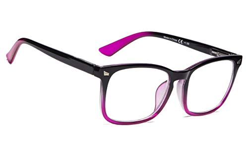 Reading Glasses Women - Fashion Ladies Readers(Black/Purple, ()