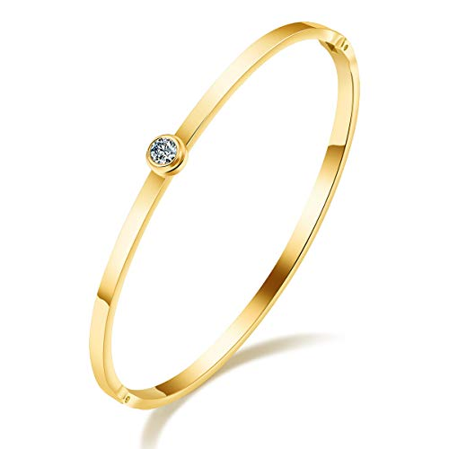 HongChang Women's Bangle Bracelets, Stainless Steel Cuff Bangle Bracelet Girls Charm Bangle with CZ Crystal Gift for Mom,Friends,Lover (Gold Plated)
