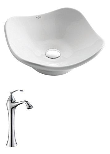 - Kraus C-KCV-135-15000CH White Tulip Ceramic Sink and Ventus Faucet Chrome