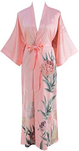 Ledamon Women's Silk Satin Kimono Long Robe - Classic Floral Nightgown Bathrobe Sleepwear (Light ()
