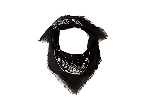 Echo Design Women's Embroidered Cotton Bandana Scarf Black One Size (Scarf Designs Echo)