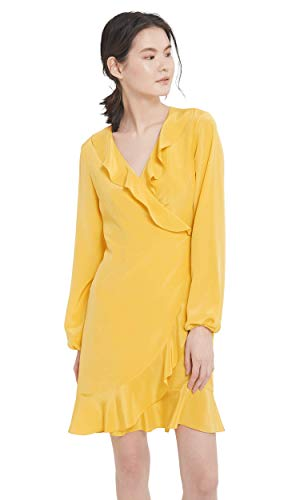 LilySilk Silk Wrap Dress for Women Ruffled Pure Mulberry Silk Long Sleeve with Silk Tie-Ginger-XL