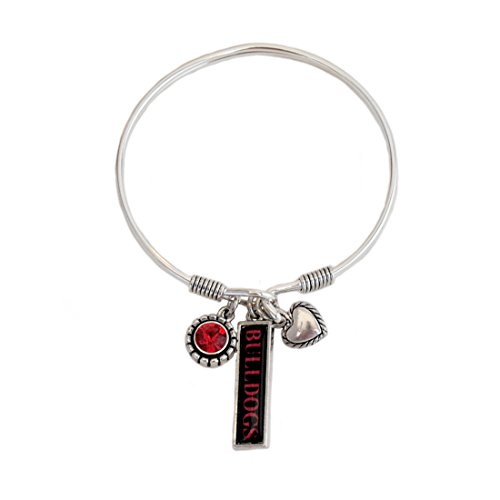 (FTH Georgia Bulldogs Triple Charm Wire Bangle Bracelet with Heart Charm)