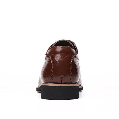 ... Ououvalley Menns Patent Skinn Dress Sko Blonder Opp Spisse Tå Oxfords  Brown1 ...