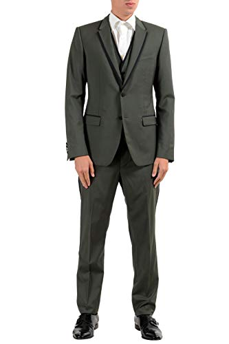 Dolce & Gabbana Men's Wool Green Two Button Three Piece Suit US 38 IT 48