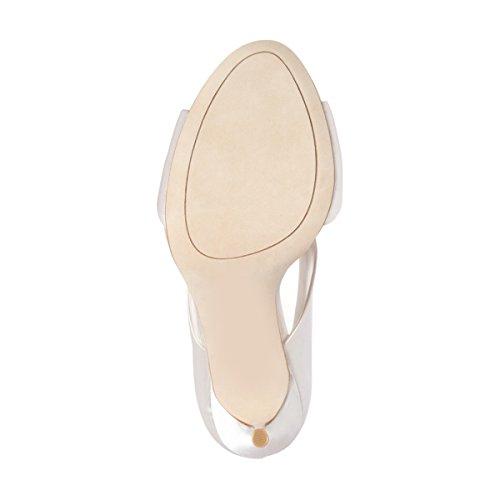 FSJ Women Cocktail Satin Heeled Sandals Peep Toe High Stilettos Bridal Wedding Shoes Size 4-15 US White CDNWMROnKG