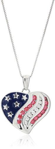 Platinum Plated Sterling Silver Swarovski Zirconia American Flag Heart Pendant Necklace, 18