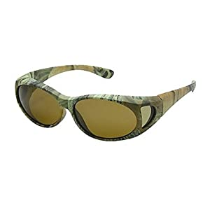 Men and Women Unisex Polarized Fit Over Oval Frame Camouflage Print Sunglasses - Wear Over Prescription Glasses. Green Camo (Carrying Case Included)