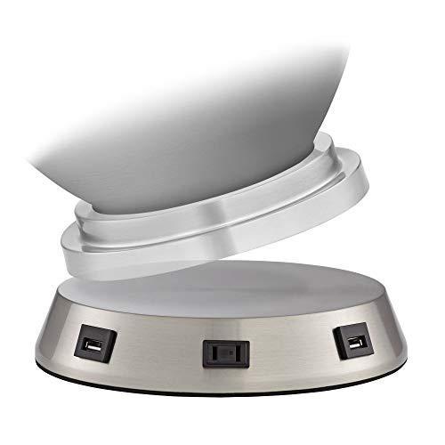 Universal Charging USB-Outlet Workstation Nickel Lamp Base - 360 -