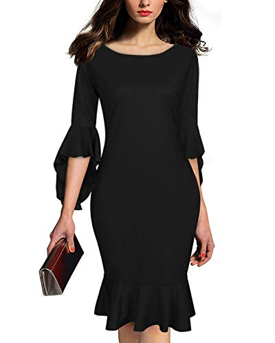 AUTCY Evening Dresses Plus Size, Women's Dresses for Special Formal Occasions Ladies Elegant Slim Cocktail Prom Midi Dress Black 2XL -