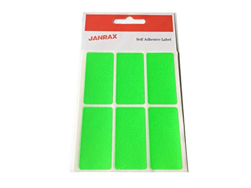 Pack of 24 Fluorescent Green 25x50mm Rectangular Labels - Adhesive Stickers