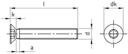 50 Stk DIN 965 A2 M 4X30 TX20 Senkkopfschraube TORX DIN 965-A2