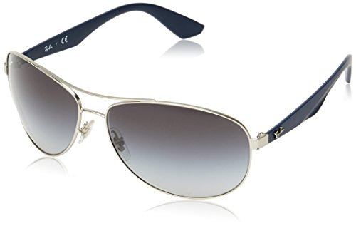 Ray-Ban RB3526 Aviator Sunglasses, Matte Silver/Grey Gradient, 63 ()