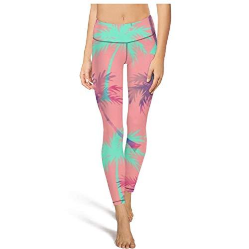 medssii Girl Yoga Pants Palm Tree Light Long Yoga Pants Yoga Leggings with Pockets