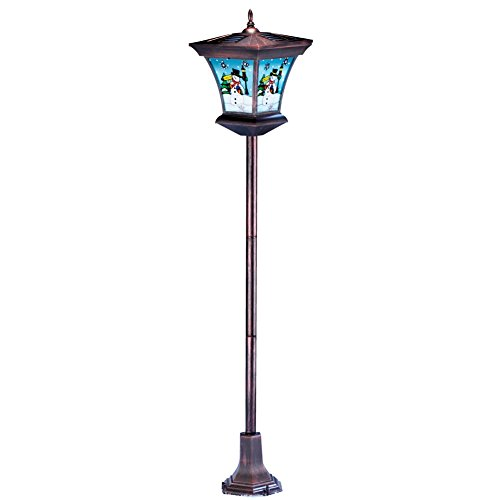 Collections Etc Festive Snowman Lamppost Solar Christmas Decoration - Outdoor Holiday Decor for Yard, Porch, or Garden ()