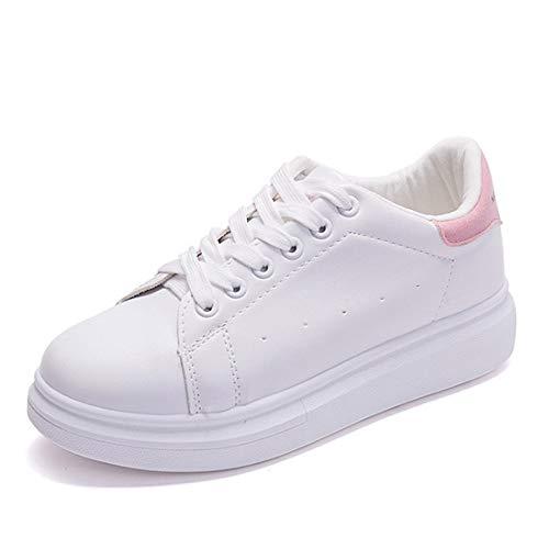 GUNAINDMX Zapatos de Plataforma de Mujer con Cordones Zapatos Planos de Estudiante de Color Blanco Zapatos vulcanizados Zapatillas de Deporte de Primavera y otoño Zapatos Casuales Pink