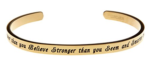 Kendasun Jewelry You are Braver Than You Believe Stronger Than You Seem and Smarter Than You Think Cuff Bangle Bracelet (Gold Tone)