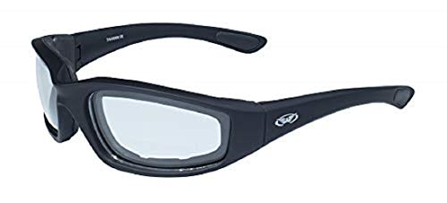 - Global Vision Eyewear Kickback Sunglasses with EVA Foam, Clear Lens, Soft Touch Black Frame