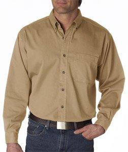 ULTRACLUB 8960 ® Men's Long-Sleeve Cypress Denim with Pocket - XXX-Large - Beige