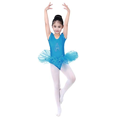 JOFOW Kid Girls Ballet Dance Dresses Leotards Short Sleeve Solid Tutu Skirt Tulle Stretch Performance Carnival Costume (100,Blue)