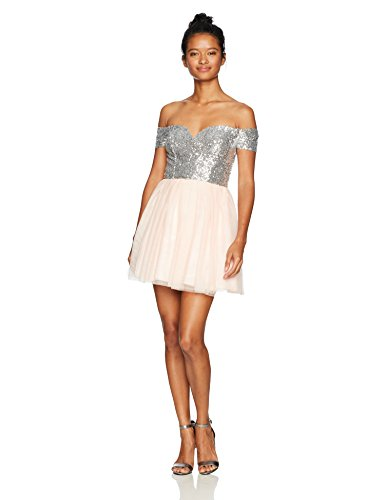 Bee Darlin Junior's Off The Shoulder Sweetheart Dress, Rose Pwdr/Silver, 5/6