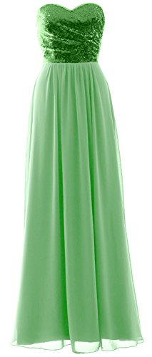 MACloth Elegant Strapless Long Bridesmaid Dress Sequin Chiffon Party Formal Gown Green-Mint uMZqQeB5xK