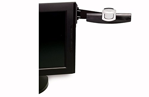 3M Monitor Mount Document Clip, Mounts Right or Left with Command Adhesive, Swings Forward and Back for Easy Viewing and Storage, 30 Sheet Capacity, Black (DH240MB) (Adjustable Holder Document)