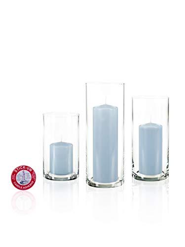 Yummi Set of 12 Slim Pillar Candles Cylinder Vases - Ice Blue (Ice Blue Vase)
