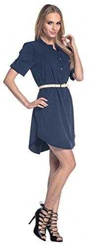 Glamour Empire. Para Mujer Camisa Vestido Manga Corta Dobladillo Escalonado. 096 Armada