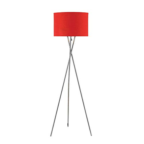 ambiore. Lisboa Tripod Floor Lamp – 62 inch Modern for Living Room Office – Metal Chrome Tripod with Red TC Fabric Shade