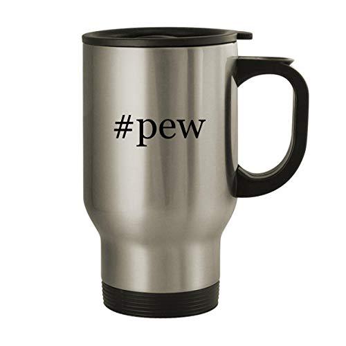 #pew – Stainless Steel Hashtag 14oz Travel Mug, Silver