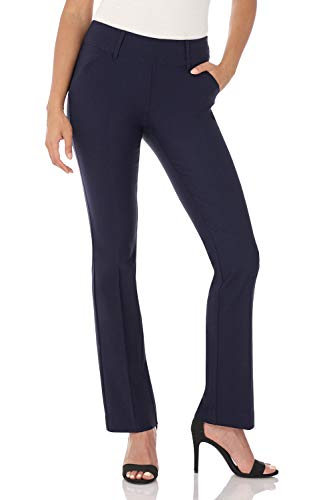 (Rekucci Women's Ease in to Comfort Fit Classic Bootcut Pant w/Tummy Control (12SHORT,Navy))