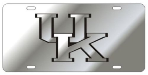 (Kentucky Wildcats Acrylic Inlaid Mirrored License Plate Silver w/black Trim UK on)