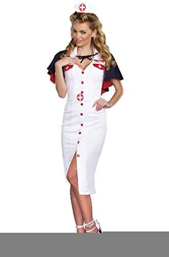 [8eighteen Night Nurse Doctor 1940s Vintage Outfit Adult Costume] (40s Nurse Costume)