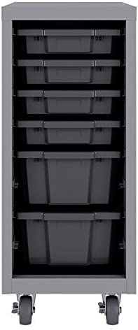 Hirsh Industries Space Solutions Huxley Mobile Bin Tower with Bins 36x15x18 in Platinum Graphite