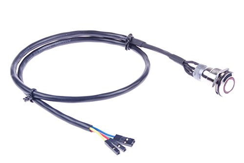 KNACRO 16mm Chassis Switch With 60cm/23.6in Cable Red LED Ring For DIY computer switch and restart button