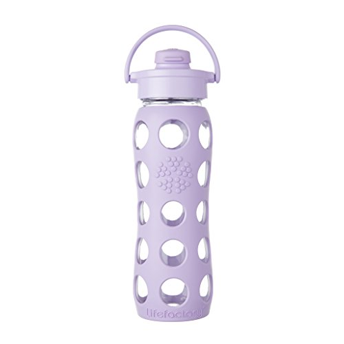 Lifefactory 22-Ounce BPA-Free Glass Water Bottle with Flip Cap and Silicone Sleeve, Lilac