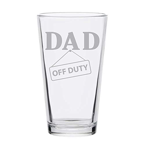 - Dad Off Duty Funny Pint Beer Glass Laser Engraved Etched - 16oz