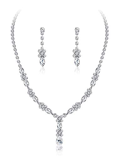 JOERICA Women's Rhinestones Bridal Necklace and Dangle Earrings Jewelry Set Gifts Fit with Wedding Dress